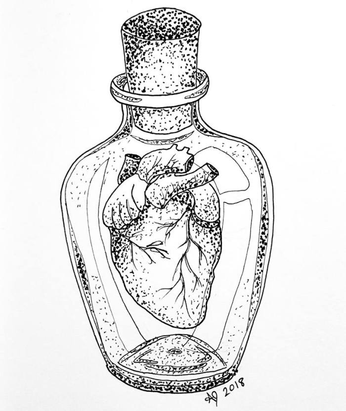 A pen drawing of an anatomical heart inside a corked glass bottle.