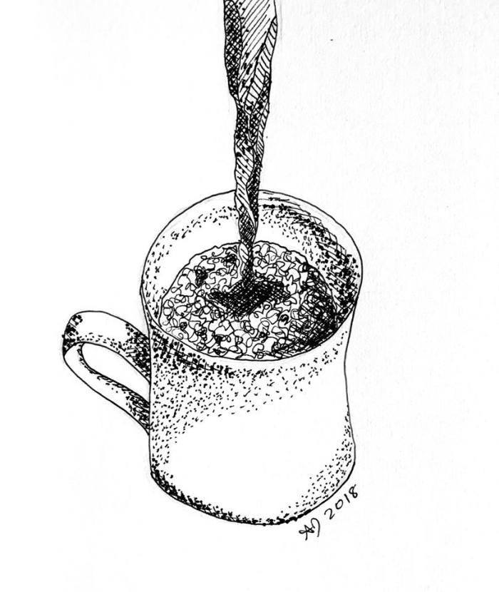 A pen drawing of a mug being filled with dark liquid.