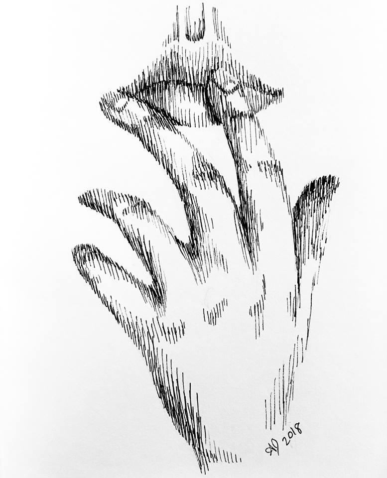 A pen drawing of a hand touching a mouth.