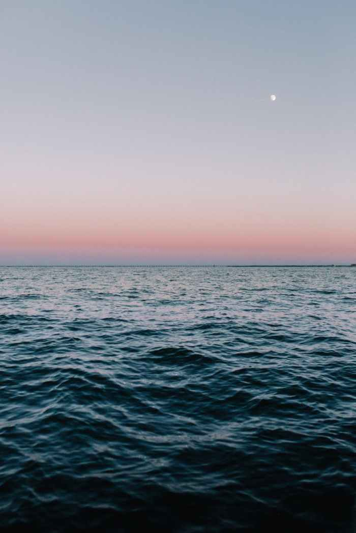 Image Description: A body of water with small waves at dusk. The horizon fades from powdery  blue to powdery pink. A gibbous moon glows in the right corner of the sky.