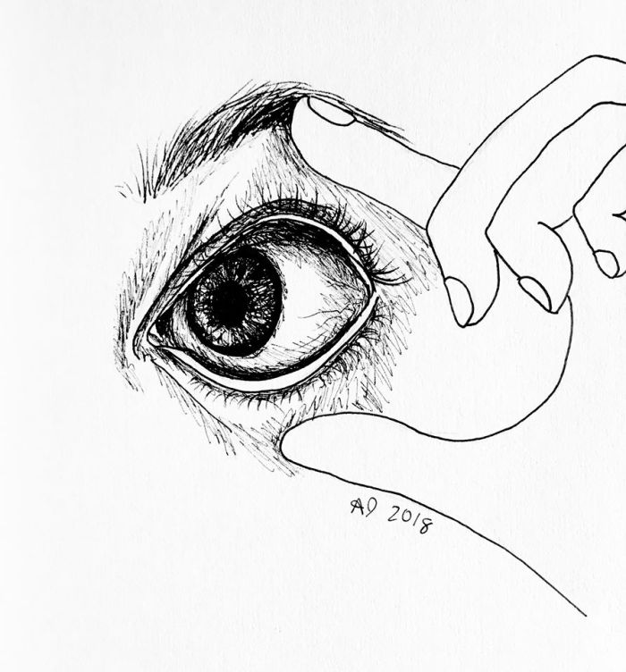 A pen drawing of a hand touching an eye.