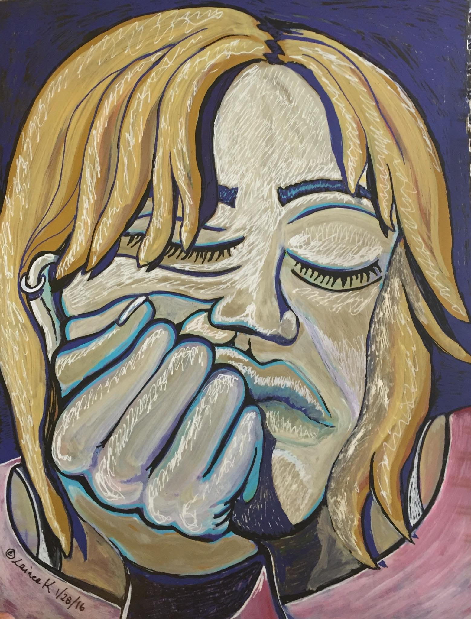 An abstract painting of a woman holding her head in her hand with a tired-looking expression.