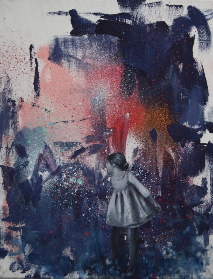 An abstract painting. A girl in a dress stands just right of center in the painting.