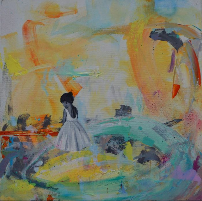 An abstract painting. A girl in a white dress looks away on the left of the painting.