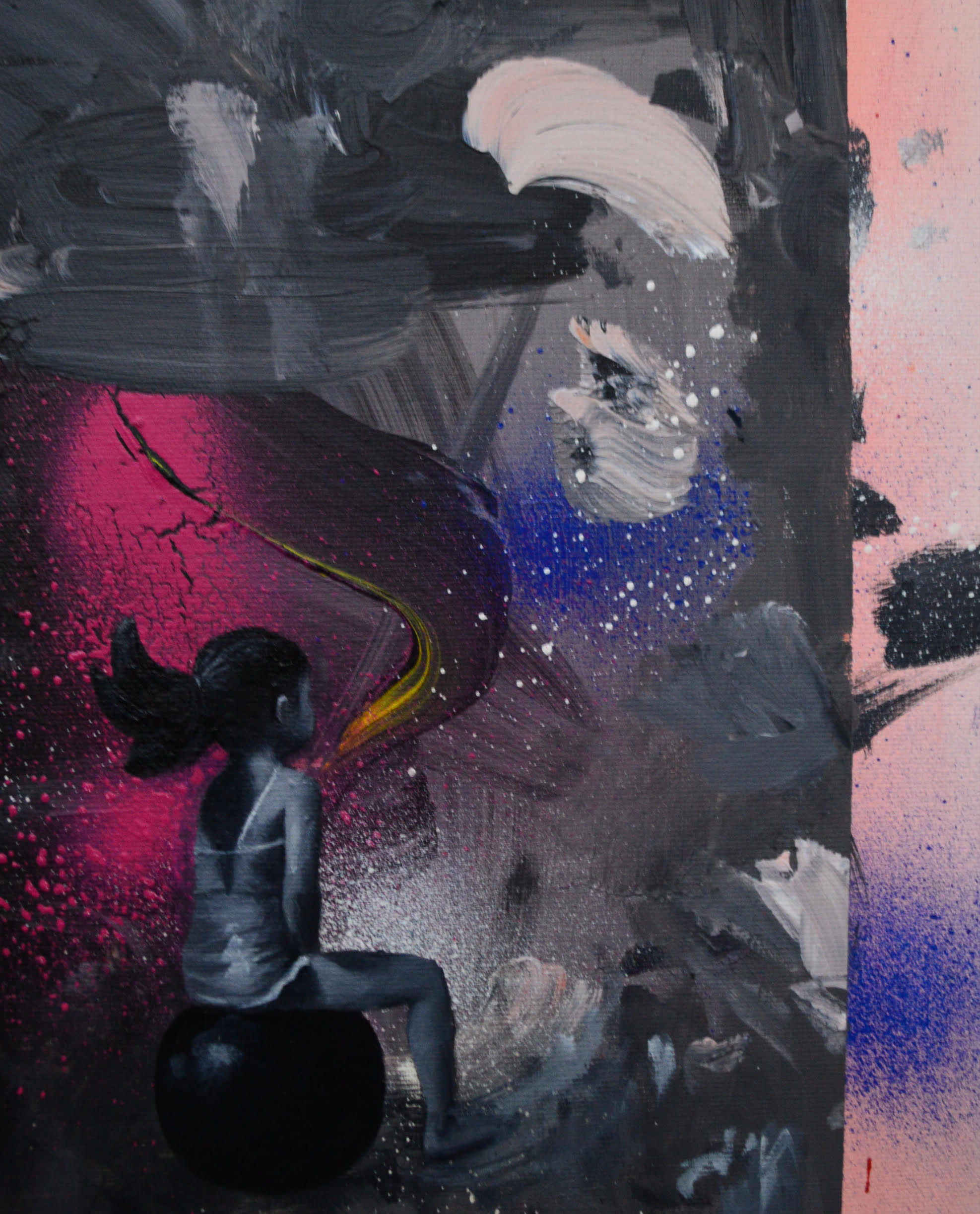 An abstract painting. A girl sits and looks away in the bottom, left corner.
