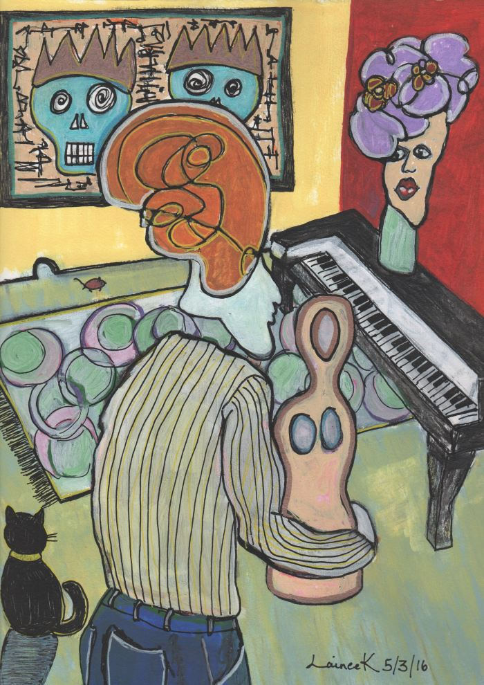 An abstract painting of a person holding a mannequin in front of a piano. A piece of art with skulls is on the wall.