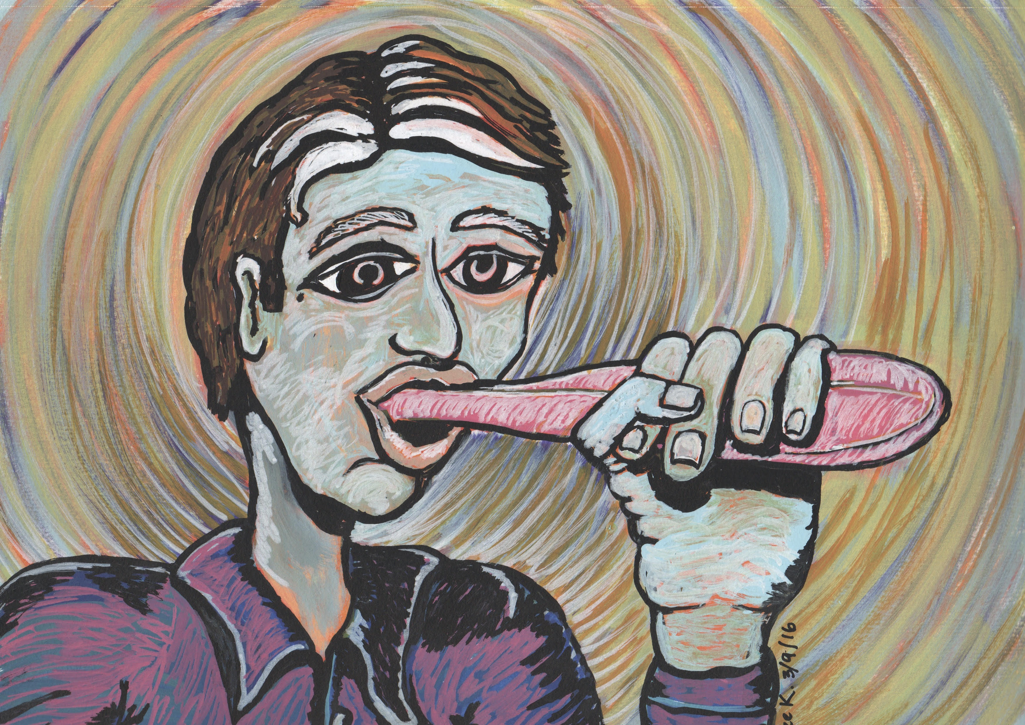 An abstract painting of a man holding his tongue which is much larger than normal.