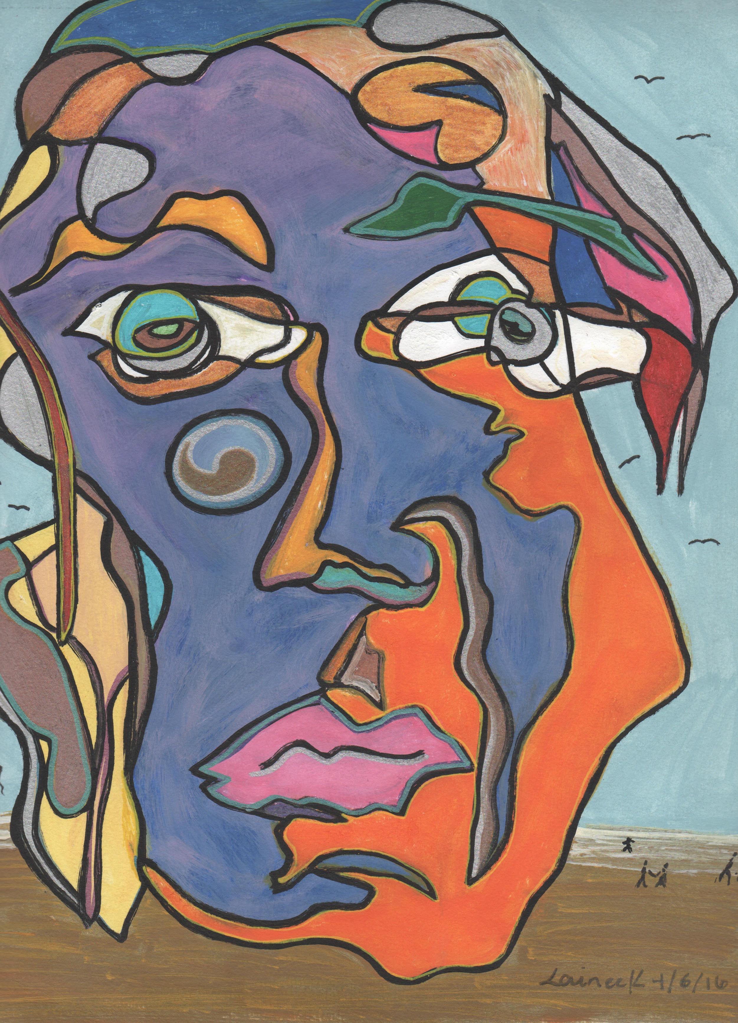 An abstract painting of a colorful face.