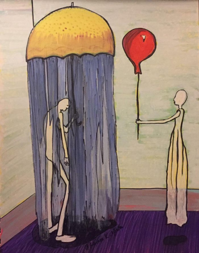 An abstract painting of two people. One is holding an umbrella under rain. The other is holding a red balloon and seems to be handing the balloon to the person in the rain.