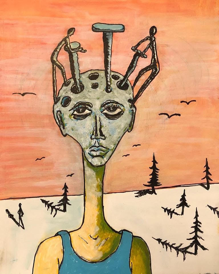 An abstract painting of a person with nails in their head. The background is orange with silhouettes of evergreen trees.