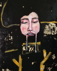 A disembodied face in a space space, mouth open with two melting streaks
