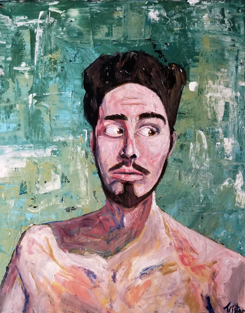 A man with thick brown hair and a goatee against a sea green swirl looks towards the side of the frame.