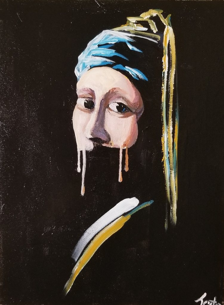 A white woman with a veil and large eyes. Under her nose, a black space until a streak of white and yellow of her clothes.
