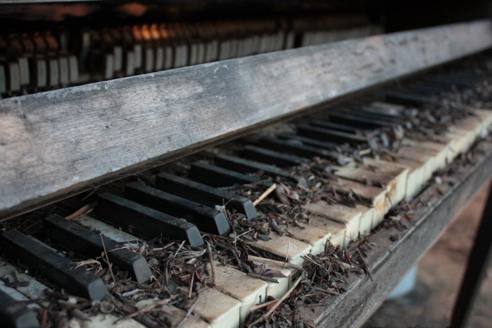 Piano keys left in desolation.